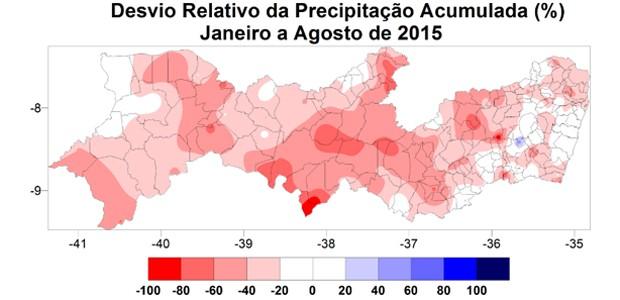 Mapa mostra que chuvas em Pernambuco ao longo do ano seguem abaixo da média (Foto: Reprodução / APAC)