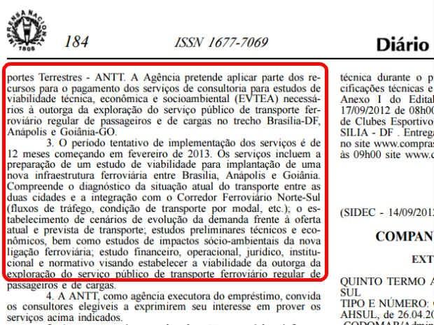 Diário Oficial da União de 17 de setembo de 2012, com abertura de seleção para estudos de viabilidade técnica para ferrovia Brasília-Goiânia (Foto: Reprodução)