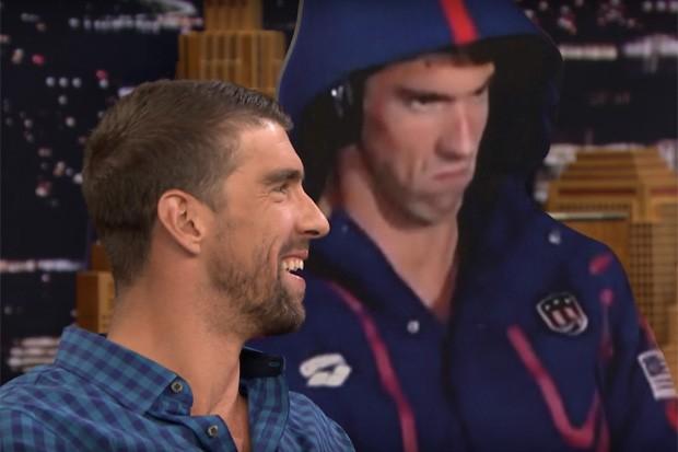 """Michael Phelps e sua versão """"brava"""" em tamanho real (Foto: Reprodução/Youtube)"""