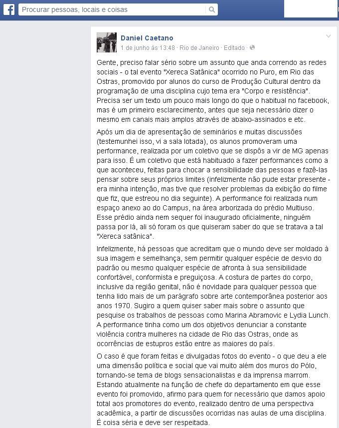 Professor se pronunciou em rede social (Foto: Reprodução / Facebook)