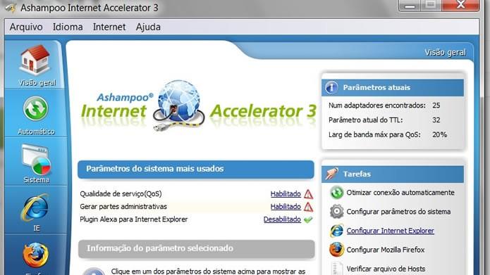 Utilize o Ashampoo Internet Accelerator para tornar sua navegação mais rápida (Foto: Reprodução/Daniel Ribeiro)