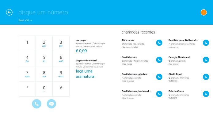 Skype também oferece ligações para números normais (Foto: Reprodução/Thiago Barros)