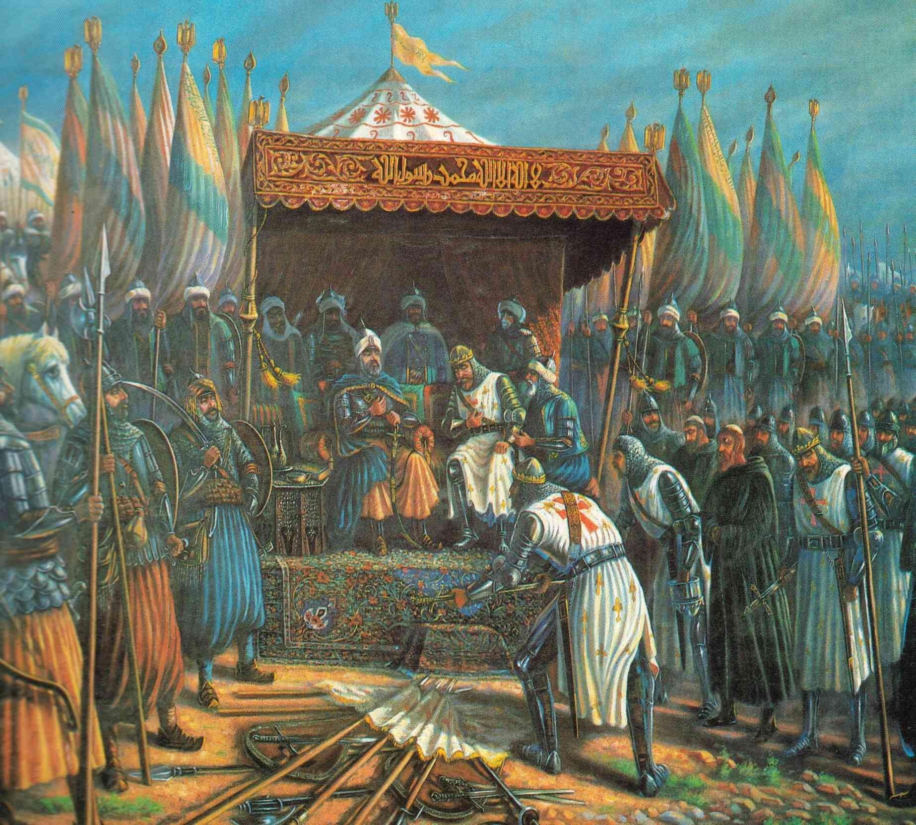 Pintura sobre o momento em que as tropas cristãs se renderam a Saladino (Foto: Reprodução)