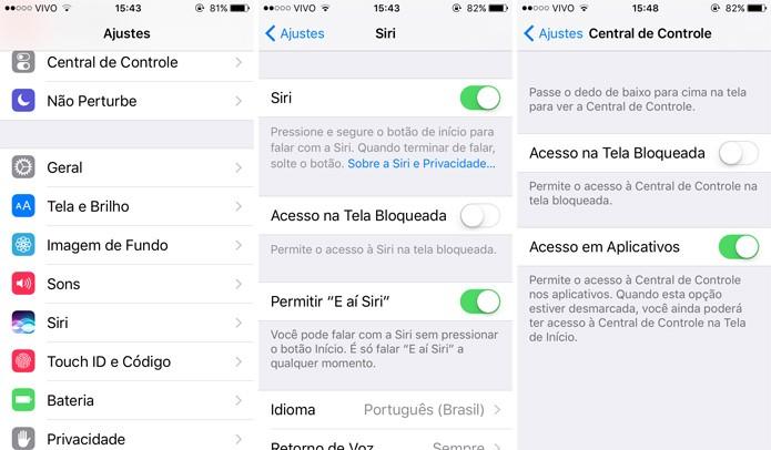 Se quiser, você pode tirar o acesso da Siri à Tela Bloqueada (Foto: Reprodução)