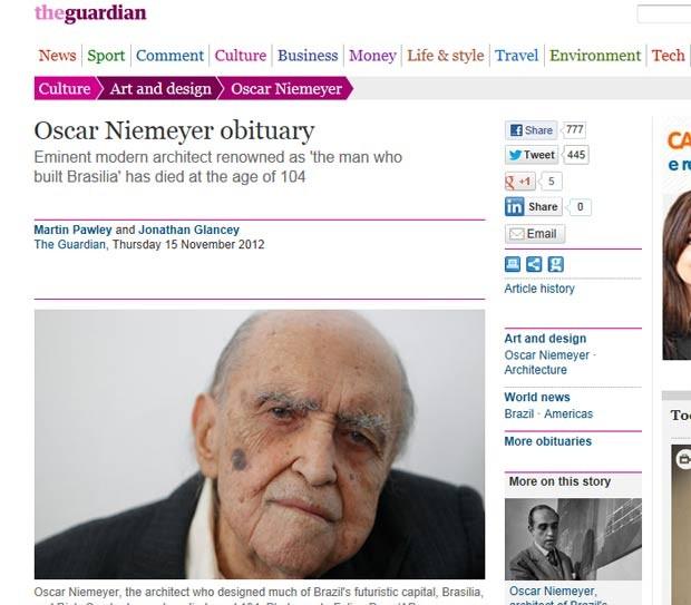 O obituário de Niemeyer no jornal britânico 'Guardian' afirma que sua exploração das formas livres foi maior até que a de seu mestre, o suíço Le Corbusier (Foto: Reprodução)