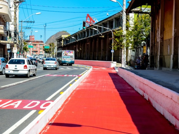 Novo trecho de ciclovia será inaugurado no Centro de Vitória, espírito santo (Foto: André Sobral/PMV)