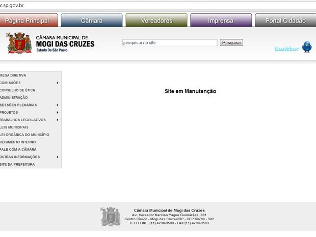 site Camara Mogi das Cruzes hackeado (Foto: Reprodução Internet)