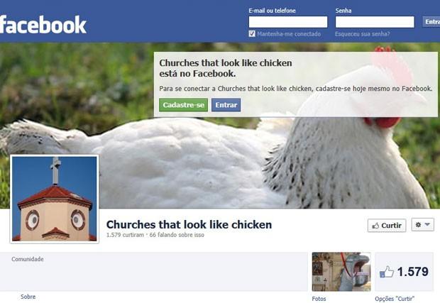 Comunidade do Facebook sobre igrejas que lembram galinhas (Foto: Reprodução/Facebook)
