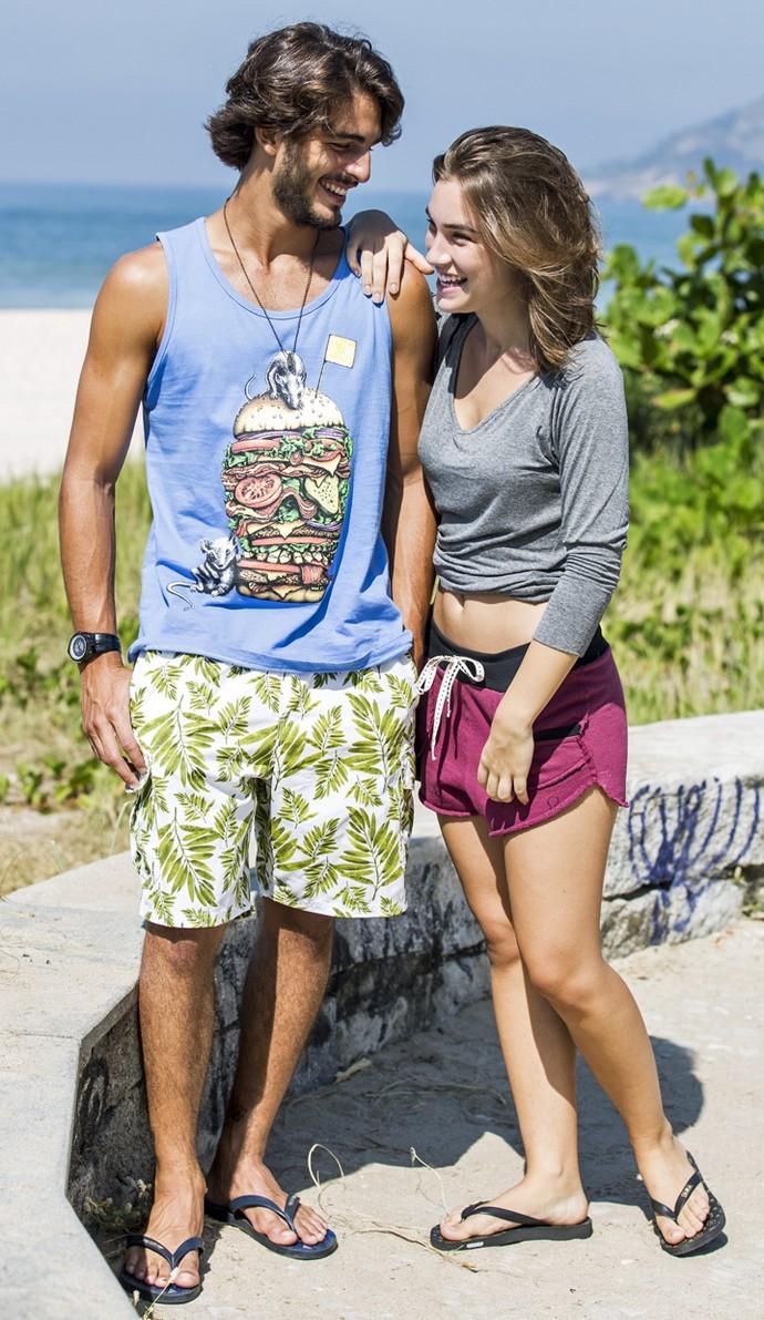 Brenno e Marcela se divertem nos bastidores (Foto: Ellen Soares/Gshow)