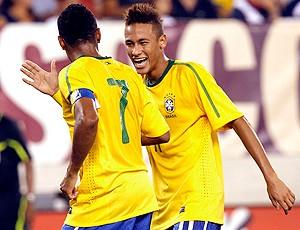 neymar e robinho brasil gol EUA amistoso (Foto: agência Reuters)