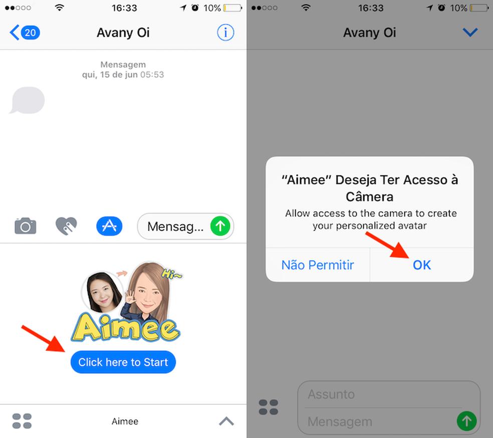Opção para iniciar o Aimee no iMessage do iPhone (Foto: Reprodução/Marvin Costa)