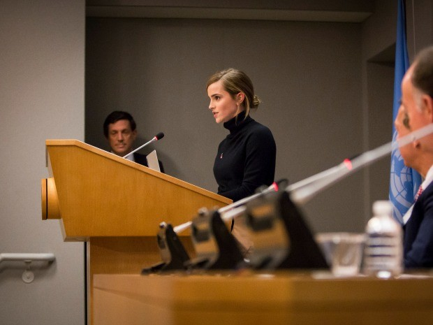 Emma Watson na coletiva da ONU Mulheres durante a semana de Assembleia Geral na sede das Naes Unidas (Foto: Divulgao/Laura Jarriel)