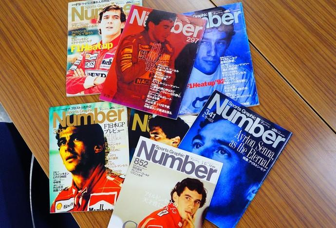 A impresa japonesa acompanhou de perto a trajetória de sucesso de Ayrton Senna na Fórmula 1 (Foto: Sports Graphic Number)