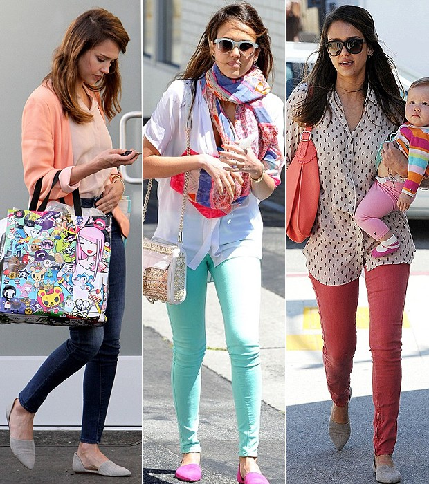 Jessica Alba: a rainha da Candy Color (Foto: Splash News e Grosby Group)