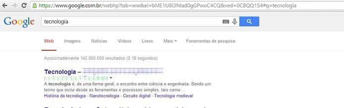 Procurando por blogs de tecnologia no Google (Foto: Reprodução/Taysa Coelho)