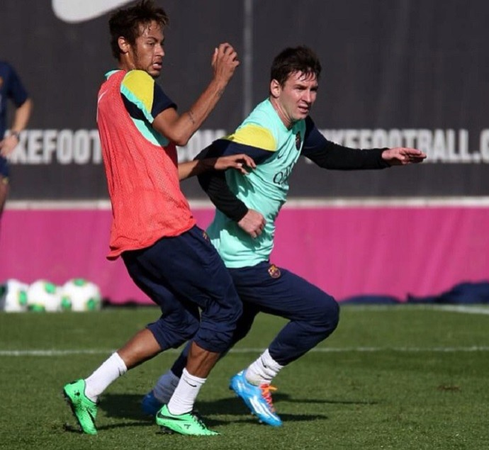 Messi Neymar treino Barcelona (Foto: Reprodução/Instagram)