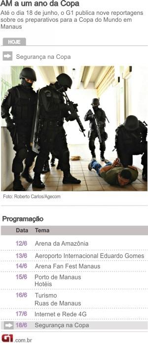 Arte programação Copa Manaus - Segurança (Foto: Arte G1)