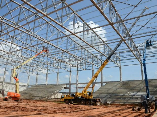 Cobertura da Arena Multiúso pesará 240 toneladas (Foto: Emerson Ferraz)
