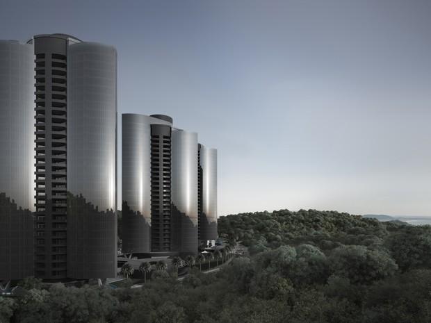 Projeto na região da Praia Brava prevê quatro torres em área a 100 m acima do nível do mar (Foto: Divulgação)
