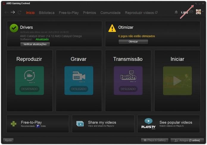 Clique no ícone indicado para acessar as configurações (Foto: Reprodução/André Luiz)