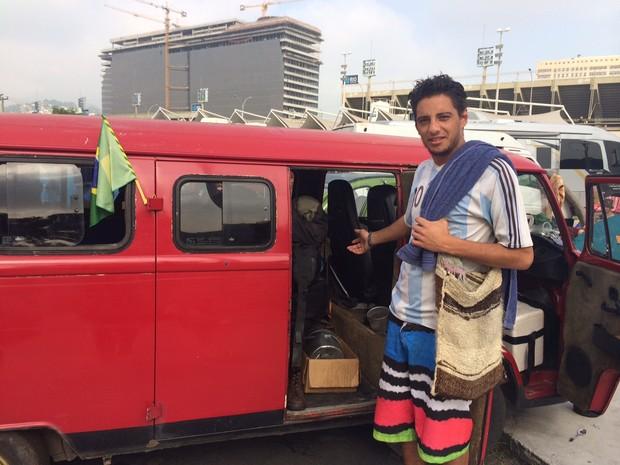 Bruno Pancera vai percorrer as estradas do Brasil durante seis meses (Foto: Janaína Carvalho / G1)
