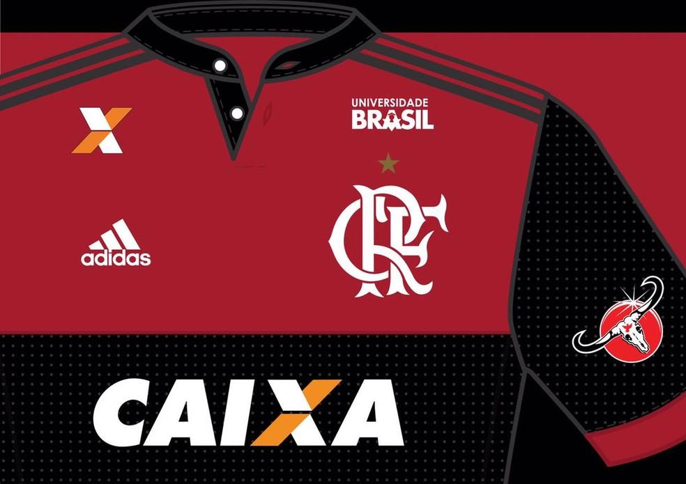 Novo patrocinador vai estampar sua marca no omoplata do uniforme rubro-negro (Foto: Divulgação)