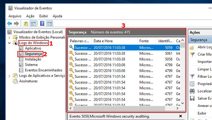 Acessando os registros de segurança no Visualizador de eventos (Foto: reprodução/Edivaldo Brito)