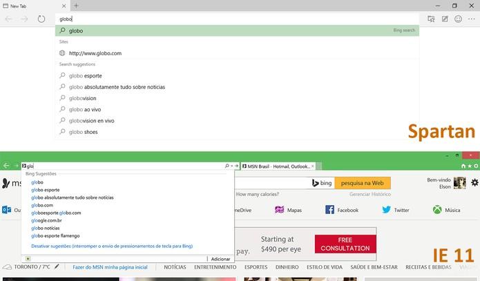 Spartan faz sugestões melhores do que o Internet Explorer na barra de pesquisas (Foto: Reprodução/Elson de Souza)