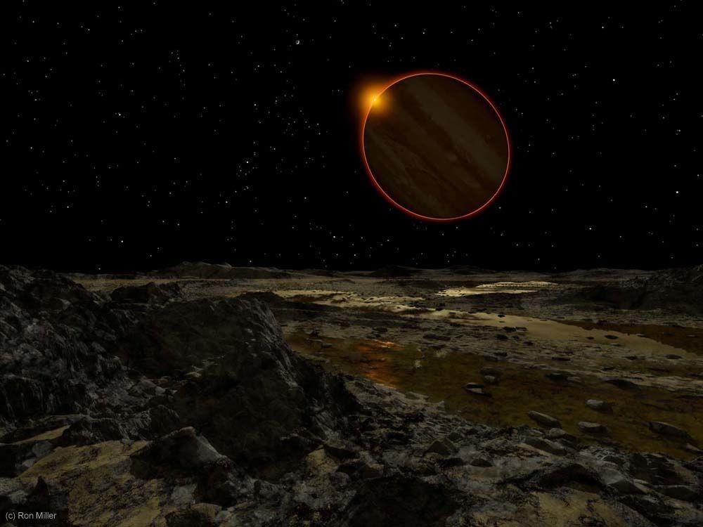 O Sol forma um halo ao redor de Júpiter, vistos da superfície de Europa, a 779 milhões de quilômetros da estrela (Foto: Ron Miller | Divulgação)