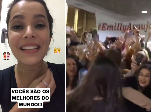 Emilly Araújo é recebida por fãs em Porto Alegre (Foto: Reprodução/Instagram)