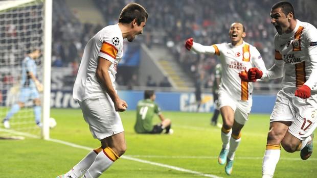 Comemoração do Galatasaray contra o Sporting Braga, AP (Foto: Agência AP)