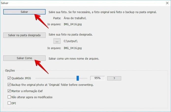 Salvando foto editada no PhotoScape (Foto: Reprodução/Helito Bijora)