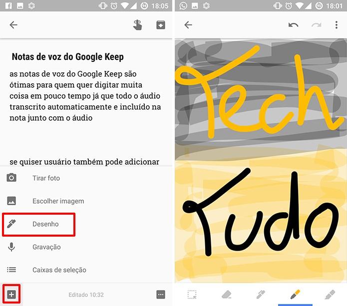 Google Keep permite adicionar desenhos a notas existentes (Foto: Reprodução/Elson de Souza)