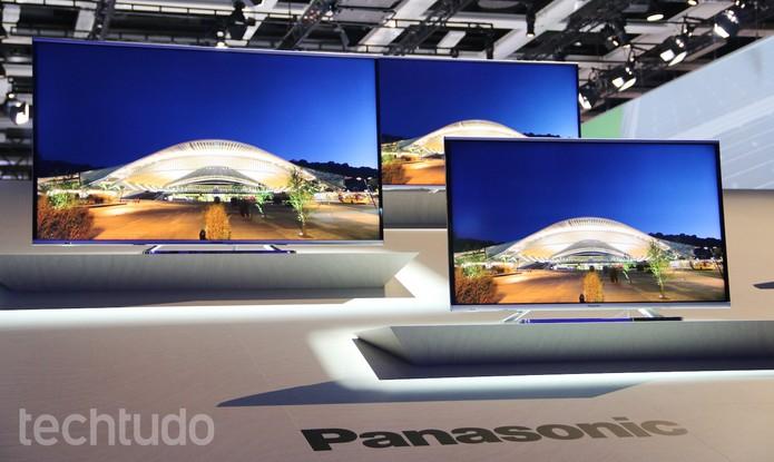 Modelos de TV 4K da Panasonic (Foto: Fabrício Vitorino/TechTudo)