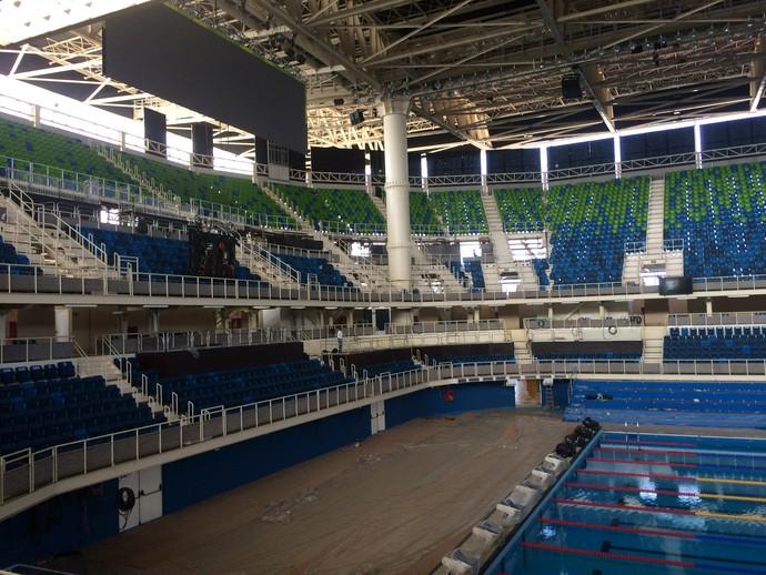 obras, Estádio Aquático, Olimpíada, Rio 2016 (Foto: GloboEsporte.com)