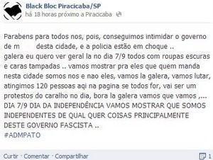 Postagem de perfil do Black Bloc comemora cancelamento de desfile em Piracicaba (Foto: Reprodução/Facebook)