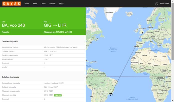 Kayak mostra trajeto do voo e detalhes sobre chegada e partida (Foto: Reprodução/Daniela Ferrari)