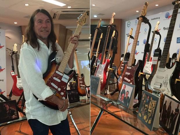 Lenine apresenta guitarras que serão leiloadas pelo Rock in Rio (Foto: Marcelo Elizardo/G1)