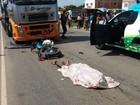 Dois primos morrem após baterem moto de frente com carreta (Divulgação/PM)