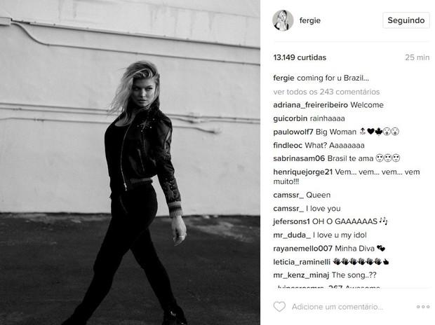 Fergie será uma das atrações do Rock in Rio 2017 (Foto: Reprodução/Instagram)