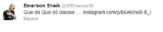 Mensagem de Emerson no Twitter (Foto: Reprodução)