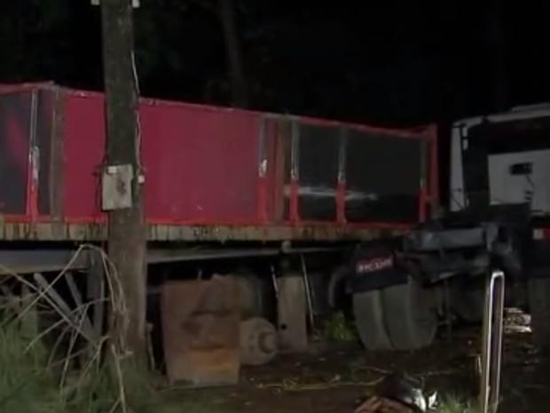 Árvore caiu em cima de caminhões de pesqueiro (Foto: Reprodução/TV TEM)