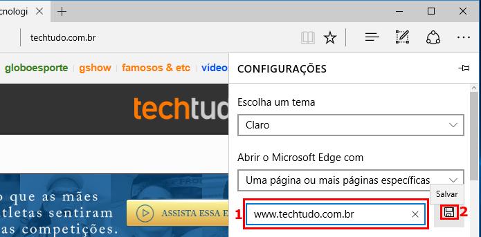 Adicionando web sites para serem exibidas ao iniciar o Edge (Foto: Reprodução/Edivaldo Brito)