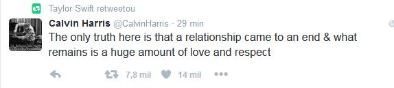 Taylor Swift retuita post de Calvin Harris (Foto: Reprodução/Twitter)