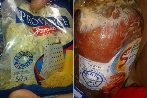 Carnes e queijo estragados foram encontrados no supermercado durante vistoria (Foto: Procon/Divulgação)