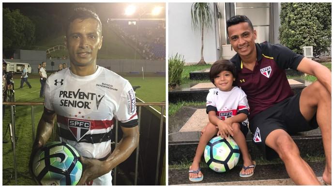 Cícero com a bola do jogo, em Londrina (esq), e ao lado do filho Enzo, em São Paulo (Foto: Montagem fotos: Marcelo Hazan / Arquivo pessoal)