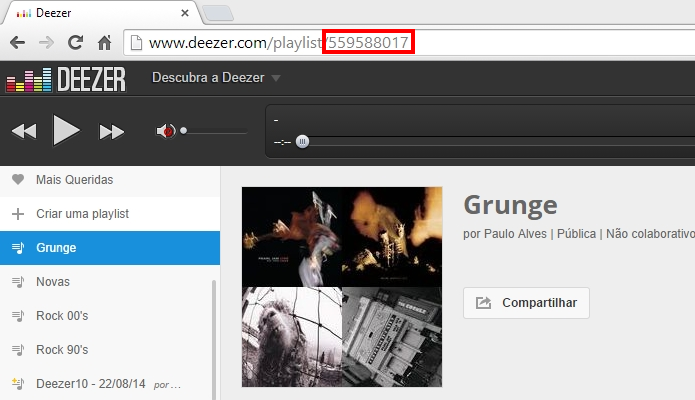 Copie o final da URL da playlist (Foto: Reprodução/Paulo Alves)