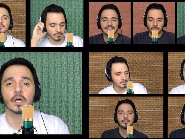 Em canal no YouTube, Brício Loureiro, de Araraquara, canta músicas e imita instrumentos com a boca (Foto: Reprodução)