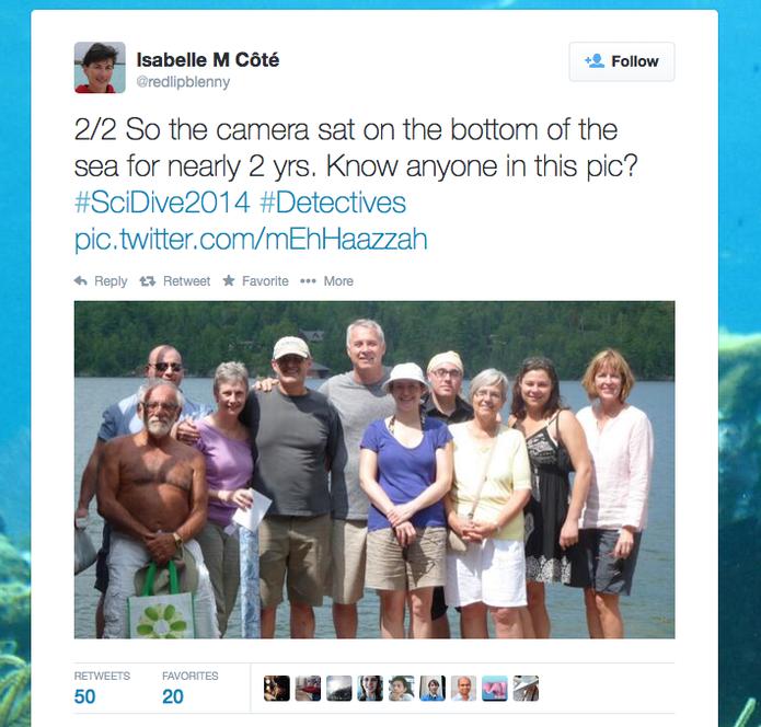 Isabelle M Côté publicou no Twitter fotos da câmera encontrada no fundo do mar (Foto: Reprodução/Twitter)