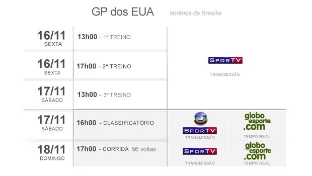 fórmula 1 horários gp eua 02 (Foto: Editoria de Arte/Globoesporte.com)